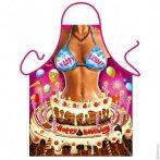 Szexi szülinapi kötény -  nő tortában